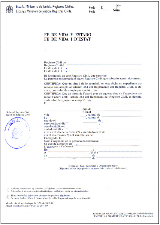 Traducción Jurada Certificado de Fe de Vida y Estado