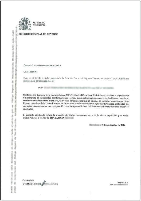 Traducción Jurada de un Certificado de Antecedentes Penales